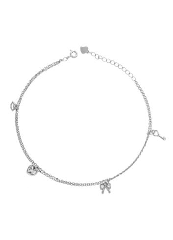 10011853 Bransoletka na nogę srebrna pr.925 z cyrkoniami