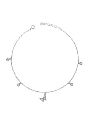 10009286 Bransoletka na nogę srebrna pr.925 z cyrkoniami