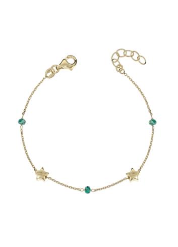 10014716  Srebrna pozłacana bransoletka pr.925 z kryształkami