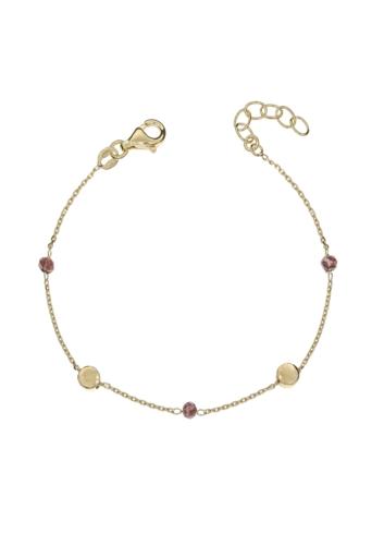 10014717 Srebrna pozłacana bransoletka pr.925 z kryształkami