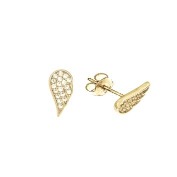 10010938 Kolczyki ze złota pr. 585 z cyrkoniami waga: 1,18 g wymiary: 5 x 10 mm