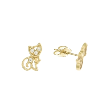 10010943 Kolczyki ze złota pr. 585 z cyrkoniami waga: 0,96 g wymiary: 5 x 7 mm