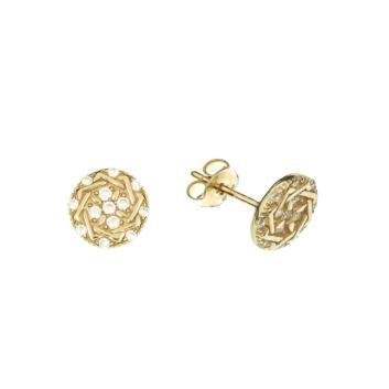 10010947 Kolczyki ze złota pr. 585 z cyrkoniami waga: 1,57 g wymiary: 7 x 7 mm