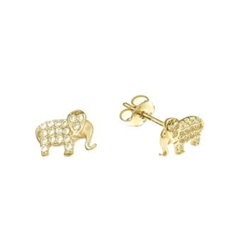 10010955 Kolczyki ze złota pr. 585 z cyrkoniami waga: 1 g wymiary: 8 x 6 mm