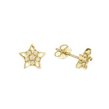 10010957 Kolczyki ze złota pr. 585 z cyrkoniami waga: 0,94 g wymiary: 7 x 7 mm