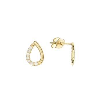 10010951 Kolczyki ze złota pr. 585 z cyrkoniami waga: 0,76 g wymiary: 5 x 8 mm