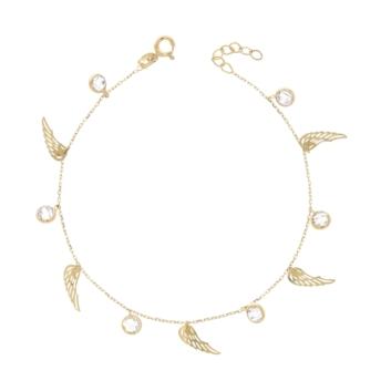 10011453 Bransoletka ze złota pr. 585 z cyrkoniami waga: 1,87 g długość: 17 + 2,5 cm. Do kompletu z naszyjnik nr 10011452
