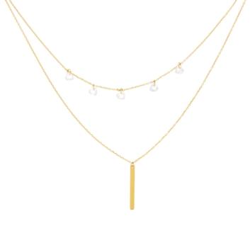 10011473 Naszyjnik ze złota pr. 585 z cyrkoniami waga: 2,05 g długość: 41 + 2 cm