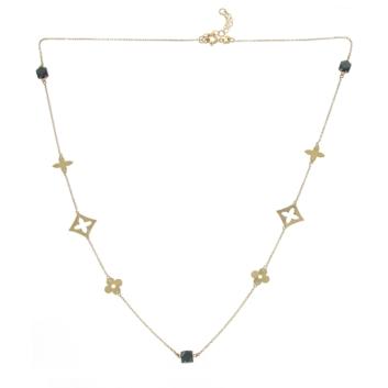10011476 Naszyjnik ze złota pr. 585 z czarnym spinelem waga: 2,12 g wymiary: 40 + 2 cm. Do kompletu bransoletka nr 10011477