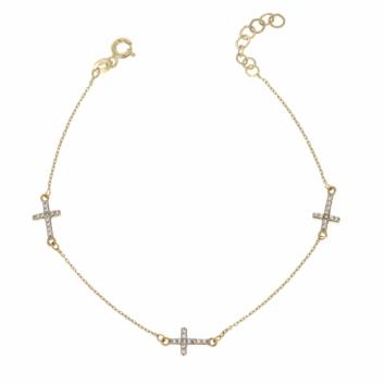 10011469 Bransoletka ze złota pr. 585 z cyrkoniami waga: 1,53 g długość: 19 + 1,5 cm