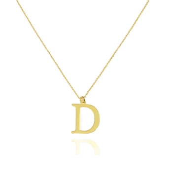 """10015304 Naszyjnik ze złota pr. 585 literka """"D"""" waga: 0,94 g długość: 40 + 3 cm, wymiary zawieszki: 0,8 x 1 cm"""