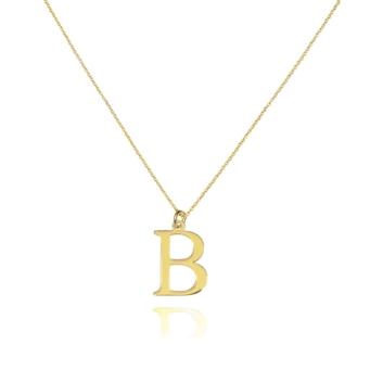 """10015302 Naszyjnik ze złota pr. 585 literka """"B"""" waga: 0,97 g długość: 40 + 3 cm, wymiary zawieszki: 0,8 x 1 cm"""