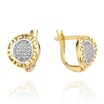 10015536 Kolczyki ze złota pr. 585 z cyrkoniami waga: 2,23 g wymiary: 1,1 x 1,2 cm