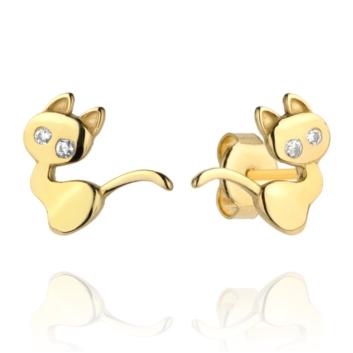 10015544 Kolczyki ze złota pr. 585 z cyrkoniami waga: 0,92 g wymiary: 0,8 x 1 cm