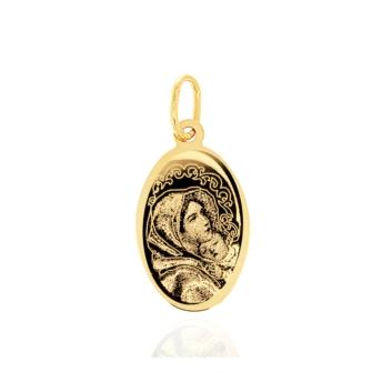 10015559 Grawerowany medalik ze złota pr. 585 waga: 0,53 g wymiary: 1,2 x 2,3 cm