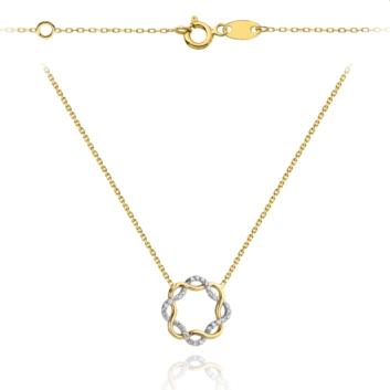 10015568 Naszyjnik ze złota pr.585 z białymi cyrkoniami waga: 1,56 g wymiary: 42 + 3 cm