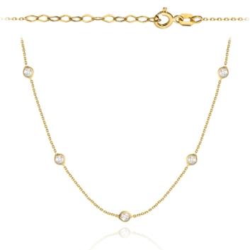 10015572 Naszyjnik ze złota pr.585 z białymi cyrkoniami waga: 1,29 g wymiary: 34 + 4 cm