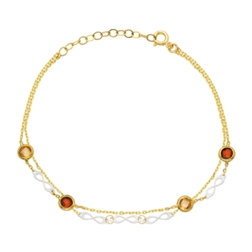 10015574 Bransoletka ze złota pr. 585 z czerwonymi cyrkoniami waga: 1,86 g wymiary: 17 + 2,5 cm