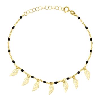 10015582 Bransoletka ze złota pr. 585 z czarną emalią waga: 1,11 g wymiary: 17 + 2,5 cm
