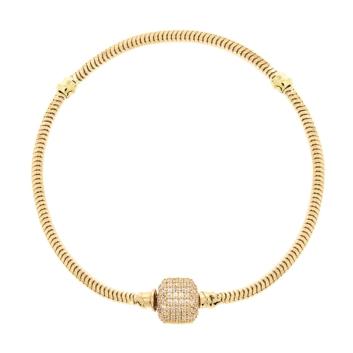 10016168 Bransoletka modułowa ze złota pr. 585 z cyrkoniami - 19 cm waga 6,93 g