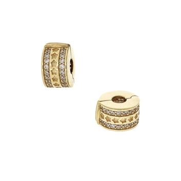 10016158 Koralik modułowy - stoper do bransoletki ze złota pr. 585 z cyrkoniami waga 1,75 g wymiary: 0,5 x 0,9 cm